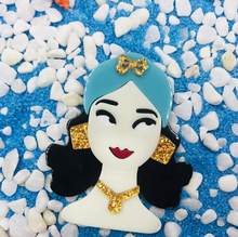 SexeMara Temperamento Sciarpa Blu Acrilico Cartone Animato Ragazza Spilla Per Le Donne Handmade Della Boemia Ragazza Hijab Spilli Risvolto Distintivi e Simboli Regalo di Modo(China)
