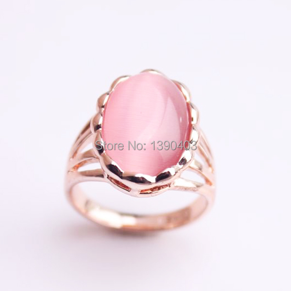 2015 New trendy rose gold rings cat eye jewelry,high quality plating resist more than 1 year opal pink stone ring(China (Mainland))