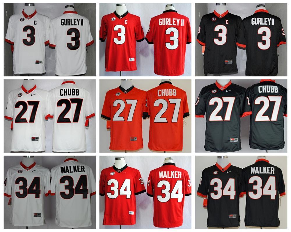 Georgia Bulldogs Todd Gurley II 3,Chubb 27,Herchel Walker 34 , College Football Limited Jerseys(China (Mainland))