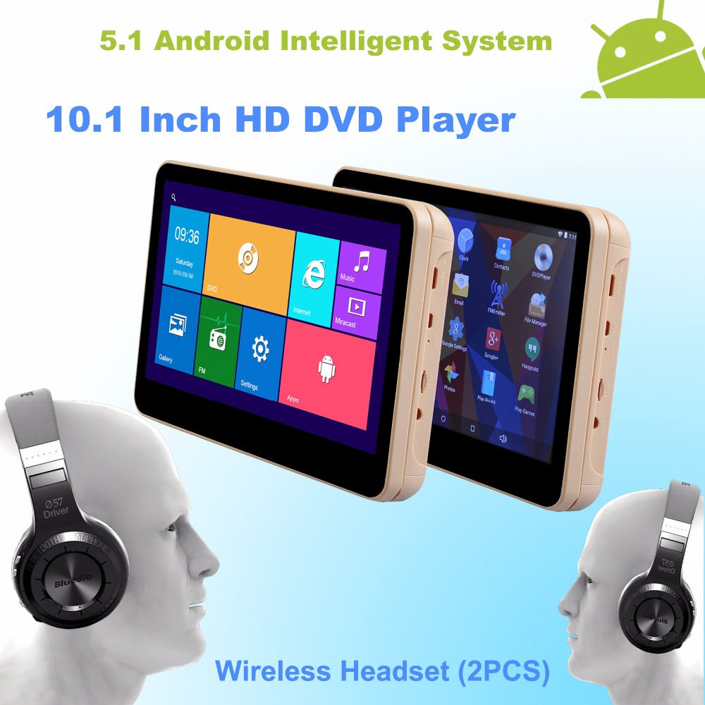 Android 5.1 Headrest 10.1 Inch Monitor HD Quad Core (4 Core) Car DVD Player WIFI With Wireless Headset - One Pair(China (Mainland))