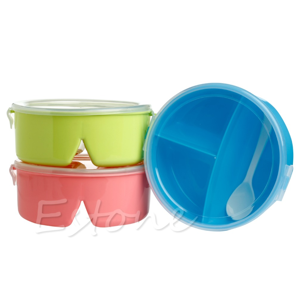 round portable microwave lunch box picnic bento food container storage spoon. Black Bedroom Furniture Sets. Home Design Ideas
