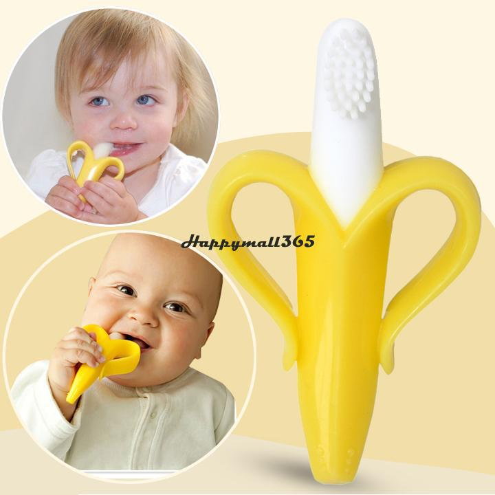 Cheapest High Quality And Environmentally Safe Baby Teether Teething Ring Banana Silicone Toothbrush Free Shipping 50(China (Mainland))