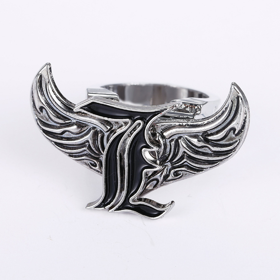 Anime Movies Death Note Rings Angel Wings Rotatable L Logo Stainless Steel Silver cosplay ring 2016 Men Jewelry accessories(China (Mainland))