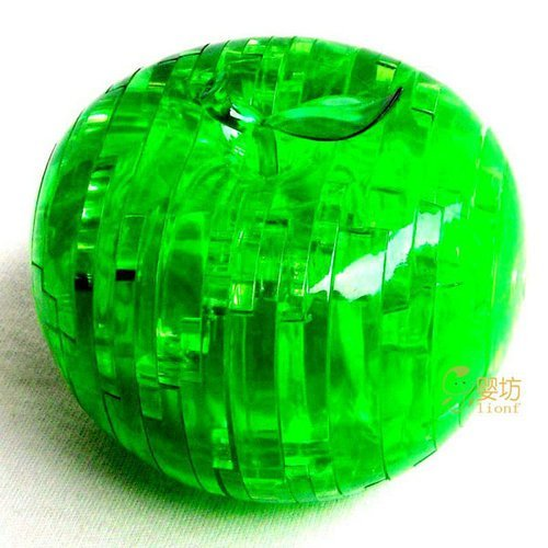 Free shipping 3pcs/lot Crystal 3D Apple Puzzle,Toy puzzle, Apple puzzle,with Red and Green color