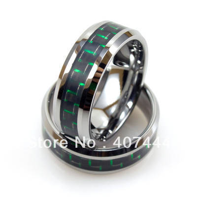 Free Shipping!Wholesales USA Hot Sales E&amp;C Jewelry Tungsten Ring With Green and Black Carbon Fiber His/Her Best Wedding Rings<br><br>Aliexpress