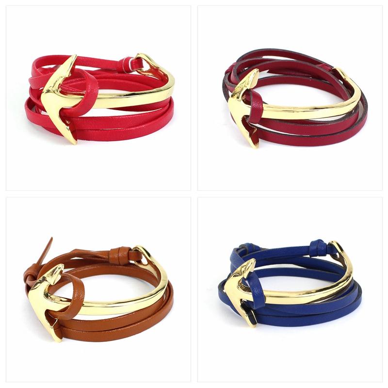 Navy Wind Tom Hope Anchor Bracelet PU Leather Bracelets Hooks Half Bend Black Gold Plated Wristband For Women Men Summer Style(China (Mainland))