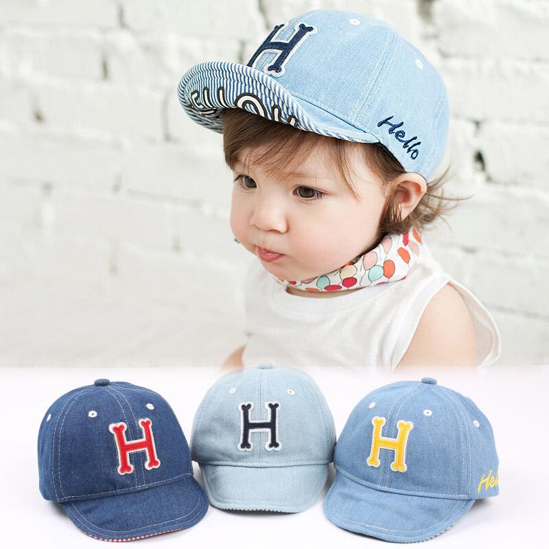 Brand Name 2015 Letter H Children Baseball Caps Denim Baby Boys Girls Summer Sun Hats Kids Visor for 1-3yrs(China (Mainland))