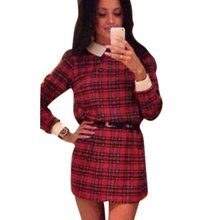 2016 Autumn Women's Long Sleeve Casual Tartan Mini Dress Lapel Collar Plaid Dress YP4
