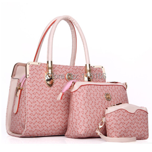 Hot Sale 2015 New Fashion Women Handbags Lady PVC Leather One Shoulder Bags Female Pink/Blue/Beige Body-cross Bags Composite Bag(China (Mainland))