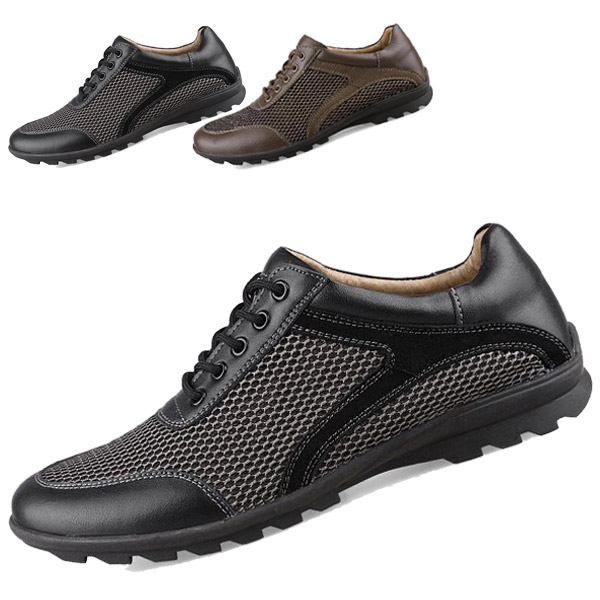 Mesh Shoes Men Genuine Leather Breathable Fashion Casual Rubber Soles Flats Lace-Up 2015 NEW - CN store