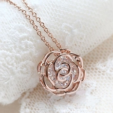 Buy MOONROCY Rose Gold Color Free Fashion Austrian Crystal Necklace rose flower necklace women's Gift choker for $4.61 in AliExpress store