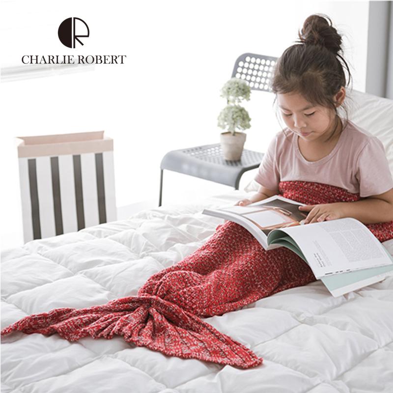 Knitted Mermaid Tail Blanket For Chirdren Brand High Quality Mermaid Blanket Sleeping Warm Comfortable Fleece Blanket For kids(China (Mainland))