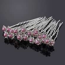 20pcs lot Wedding Bridal Pearl Flower Crystal Rhinestone HairPins Bridesmaid Clips Hairwear U Pick TiaraJewelry Hair