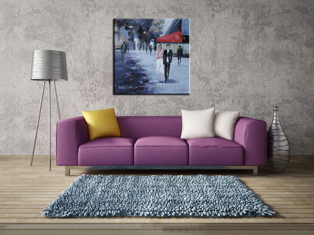 Buy Drawing Wall Art Hang Pictures Handmade Abstract Painting by Number Hand-painted Streetscape Lanscape Knife Canvas Oil Painting cheap