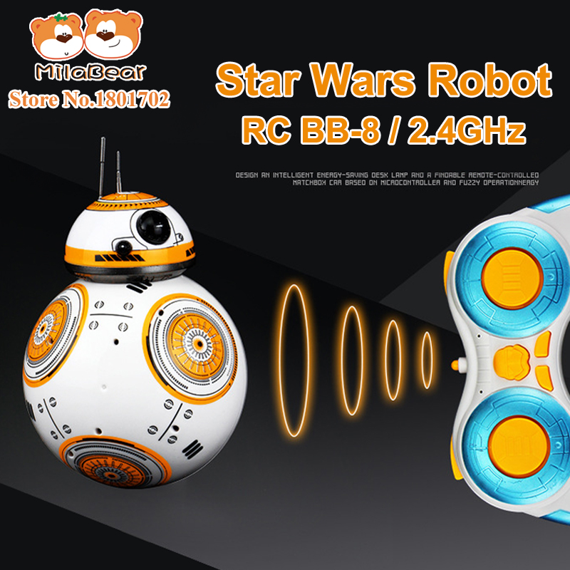 Star Wars RC BB 8 Droid Robots Remote Control Intelligent Rolling Small Mini Ball Action Figure Toy Flashing Sounds For Kid Gift(China (Mainland))