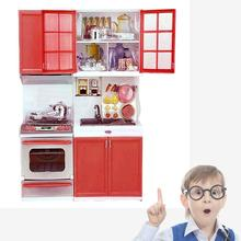 Red Sale Kid Kitchen Fun Toys Pretend Play Cook Cooking Cabinet Stove Set Toy girls toys kids toys online kids kitchen sets(China (Mainland))