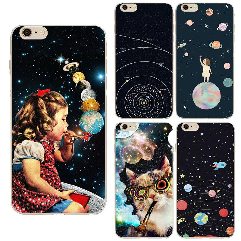 Airship Astronaut Stars Case Cover For Apple iPhone 6 6S Silicone Moon Night Case High tech cosmic picture Design Phone Case(China (Mainland))