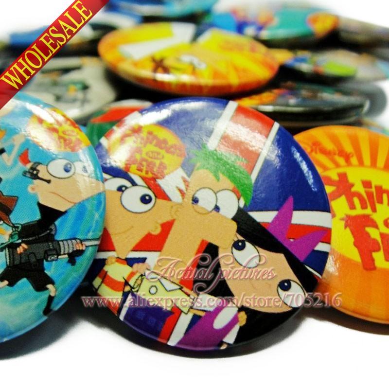 Novelty Fashion 90pcs of Phineas and Ferb cartoon badges Cute Creative fashion brooch/ DIY Multifunction badge Free Shipping(China (Mainland))