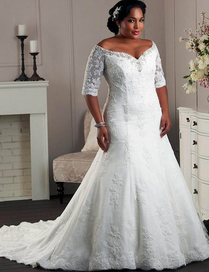 Wedding dresses yw082 off shoulder half sleeves wedding for Plus size lace wedding dresses with sleeves