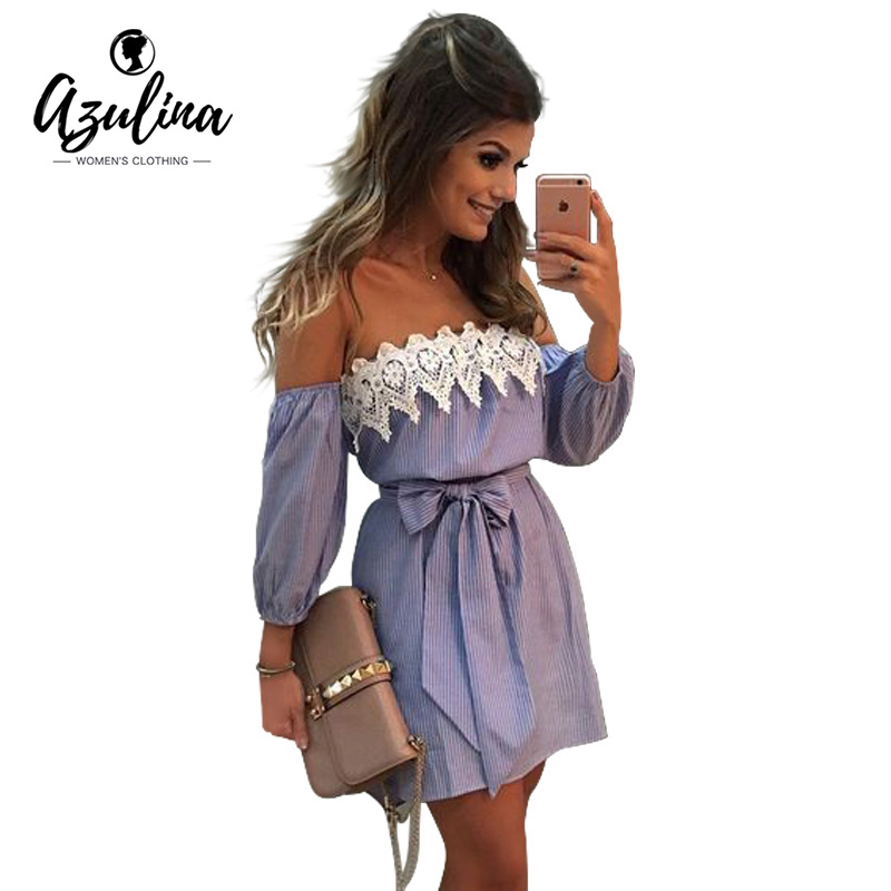 AZULINA Plus Size Elastic Sexy Off Shoulder Blue Striped Mini Dress Women Girl Casual Short White Party Dress With Belt Vestido(China (Mainland))