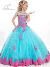 Colorful Floor Length Flower Girls Dress