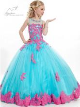2015 nuovo arrivo bambina abito di sfera scoop appliqued glitz pageant piano lunghezza ragazze di fiore abiti per bambini di promenade(China (Mainland))