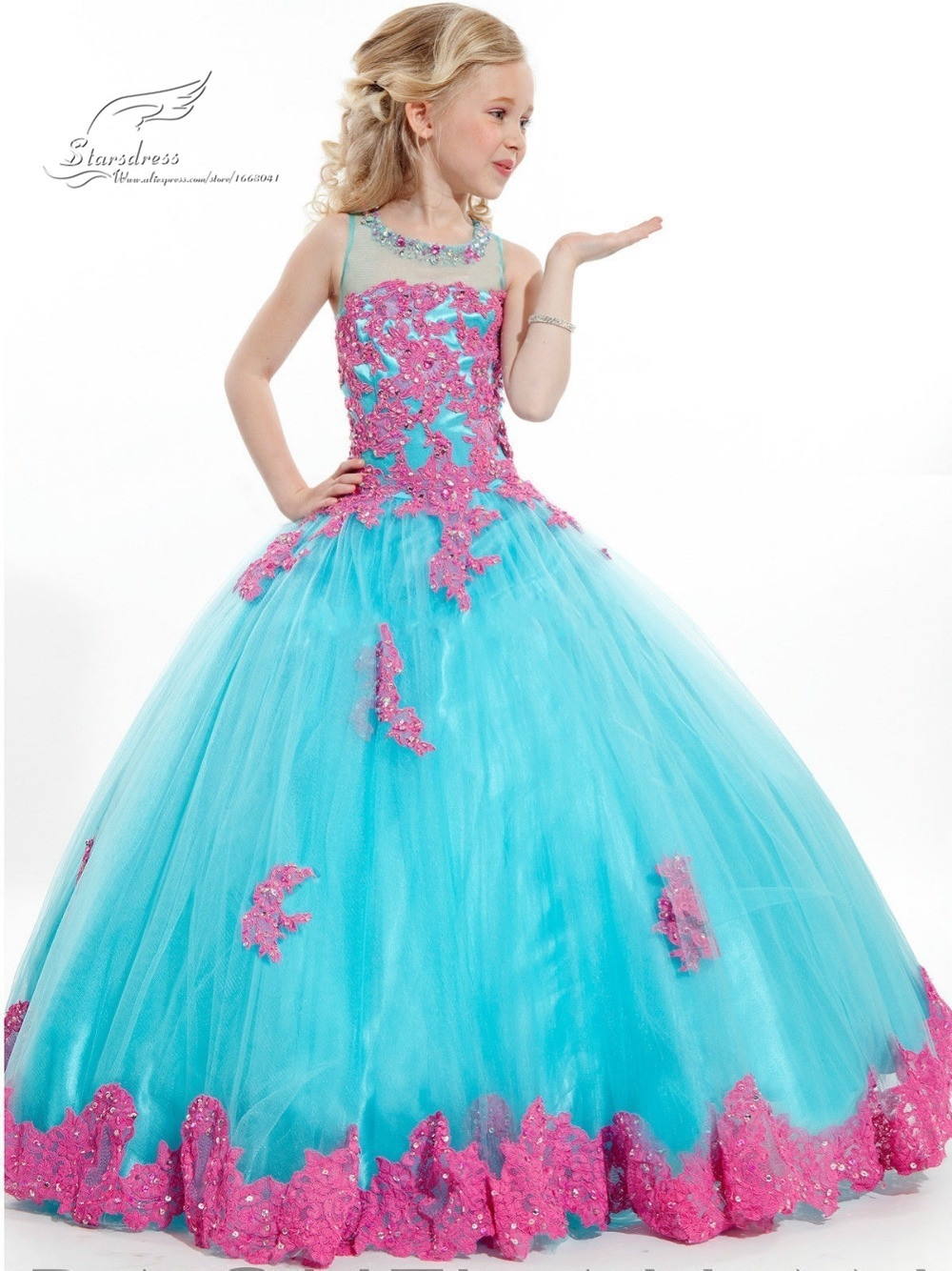 2015 New Arrival Little Girl Ball Gown Scoop Appliqued Glitz Pageant Floor Length Flower Girls Dresses For Children Prom Gown(China (Mainland))