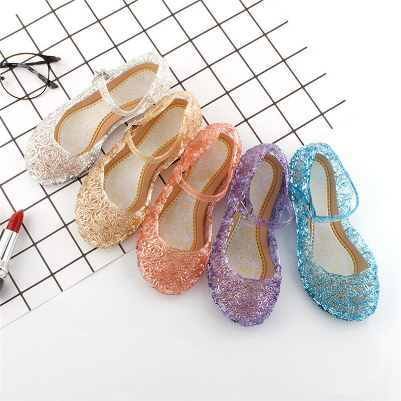 Kids Baby Girls Summer Crystal Sandals PVC Transparent Jelly Princess Shoes