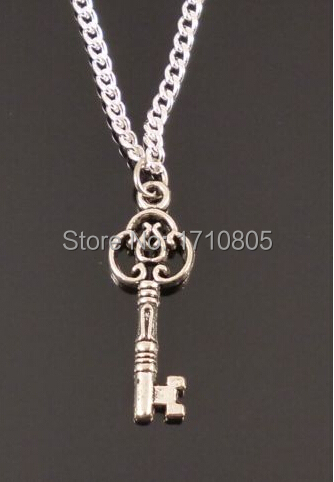 Hot Antique Silver Flower Key Charm Pendant Sweater Chain Necklace Jewelry Accessories Findings Holiday Gifts Free Shipping D312(China (Mainland))