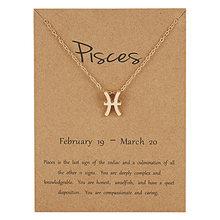 12 Constellation pendentif or collier bijoux collier ras du cou signe du zodiaque collier à breloques anniversaire cadeau carte de souhait pour les femmes fille(China)