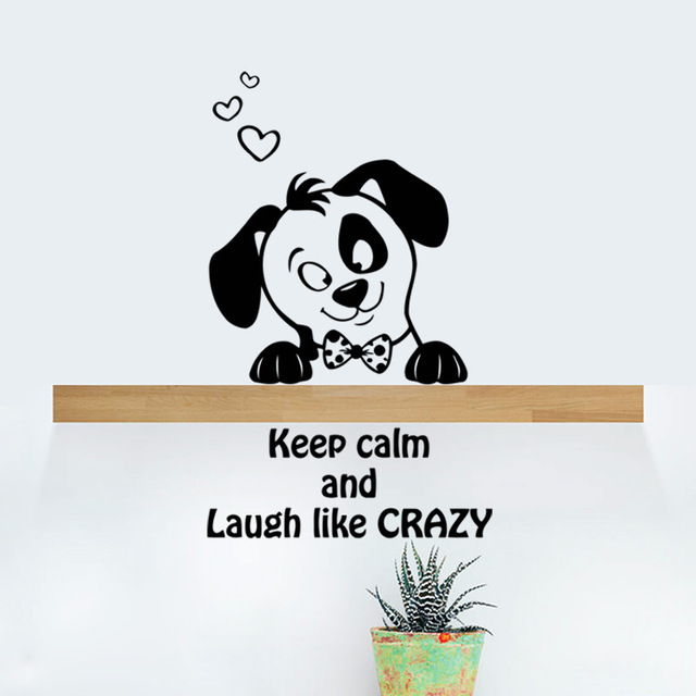 % Puppy Dog Keep Calm Laugh Crazy Switch Car Wall Stickers Kids Room Living Room Bedroom Home Decor 3d Vinyl Tiny Wall Decal(China (Mainland))