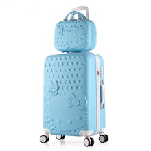 """Hello kitty suitcase 20"""" 24"""" Luggage sets Rolling luggages Hardside luggage ABS Luggage bag Cartoon suitcase with Cosmetic case(China (Mainland))"""