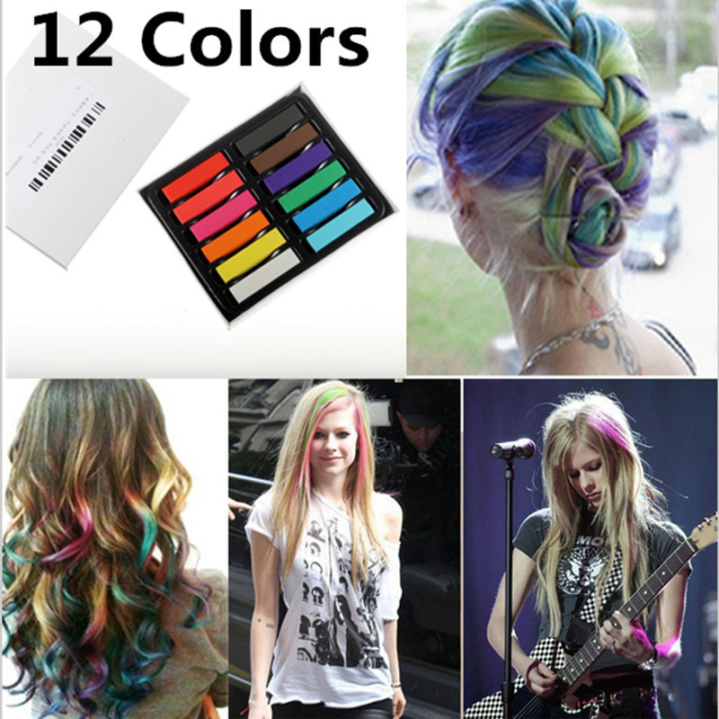 L Fashion 12 Colors Non-toxic Soft Hair Crayons Pastel Kit Temporary Chalk Dye Personalized Beauty Hair Color for DIY Hair Style(China (Mainland))
