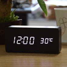 Wooden Style LED Alarm Clock with Temperature & Noise Activation