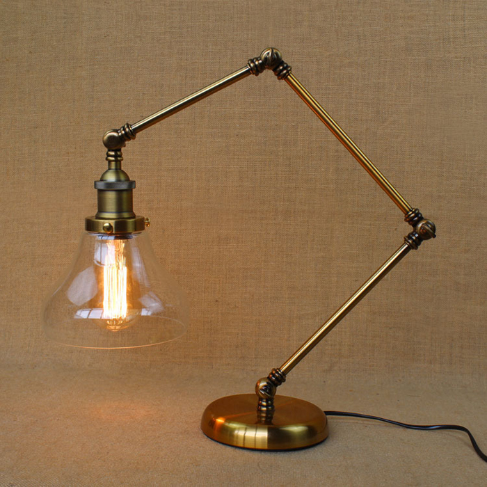American Style RH Vintage Glass Shade Table Lamp Bedside Lamp Copper .