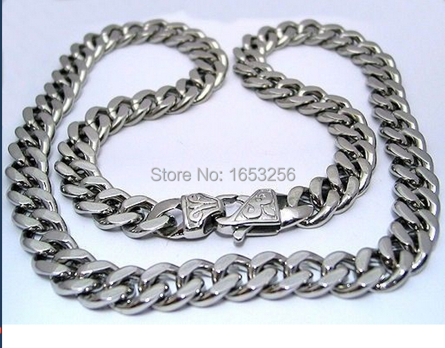 Flash Sale 11mm/ 15mm Wide 18''-36'' High Polished Stainless Steel Cuban Curb Chain Link Necklaces Amazing Father Husband Gifts(China (Mainland))