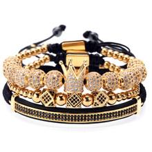 Mcllroy 3 יח'\סט יוקרה קסם זהב/כסף כתר צמידי נשים גברים מעוקב מיקרו פייב CZ קולעת צמיד צמיד תכשיטי גבר(China)