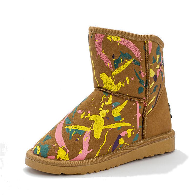 Camo Women's Shoes Slip On Warm Plush Graffito Printed Ankle Boots 2016 Latest Autumn Women Graffiti Fashion Casual Snow Boots(China (Mainland))