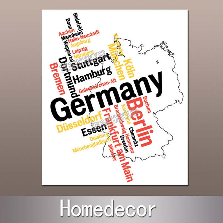 1pcs Letter Art Germany/Berlin Map canvas painting canvas printing modern fineart home living house decoration collection gifts(China (Mainland))