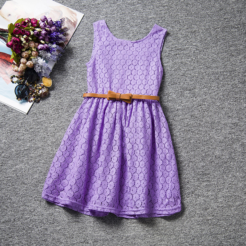 2016 New And Fashion Children Baby Girl Summer Dresses With Belt,Hollow Lace Baby Girl Dress,Free Shipping(China (Mainland))