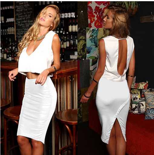 2015 Women Sexy&Club Sheath Solid Sleeveless Regular Natural V-neck Knee-length Knitting Cotton Natural White dress(China (Mainland))