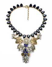 N01093 Trendy Jewelry Accessories Friendly Necklace Antique Wholesale Statement Rhinestone Necklace Exaggerated For Women(China (Mainland))