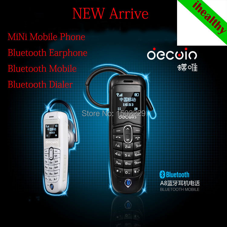 New Arrive A20 Mini Bluetooth Mobile Phone+Bluetooth Earphone+Bluetooth Dialer Cell Phones Multi Language Russian French Spanish(China (Mainland))
