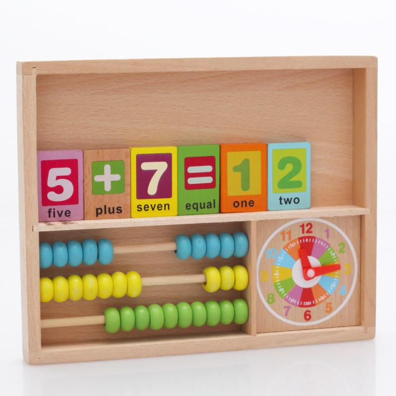 Baby Toys Multifunctional Congitive Learning Box Domino/Clock Wooden Education Blocks Child Christmas Gift - Paradise store