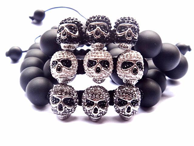 New Design Jewelry Shamballa Bracelet,12MM Black Agate Stone Bead Bracelet,3Pcs Color White/Black/Grey Crystal Skull Bracelets(China (Mainland))