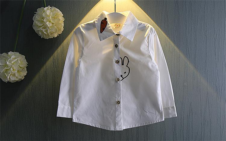 Children wear long sleeved cotton baby girls plus velvet white shirt shirt and thickened Korean B632