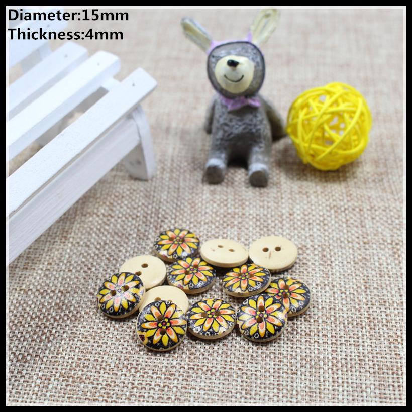 Free shipping 100pcs 15mm petals wood buttons, button shirt DIY pillow bedding bag sewing/0116(China (Mainland))