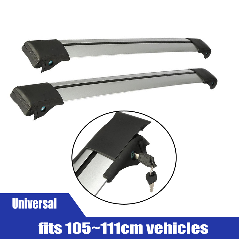 2x Car Roof Rack Cross Bar Top Roof Box Luggage Boat Bike Carrier Anti-theft Lock Adjustable Silver Black fit 105~111cm vehicles(China (Mainland))