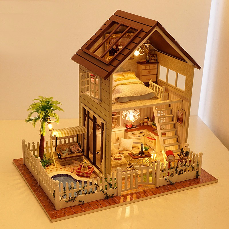 Home Decoration Diy 3d Doll House Wooden Doll Houses