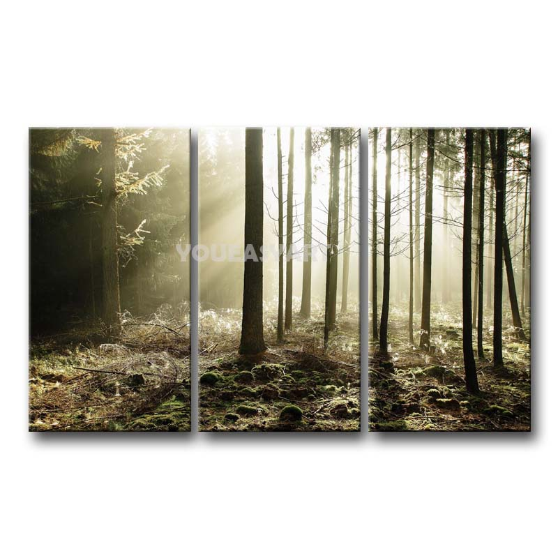 3 piece painting on canvas wall art sunbeams through for 3 piece wall art